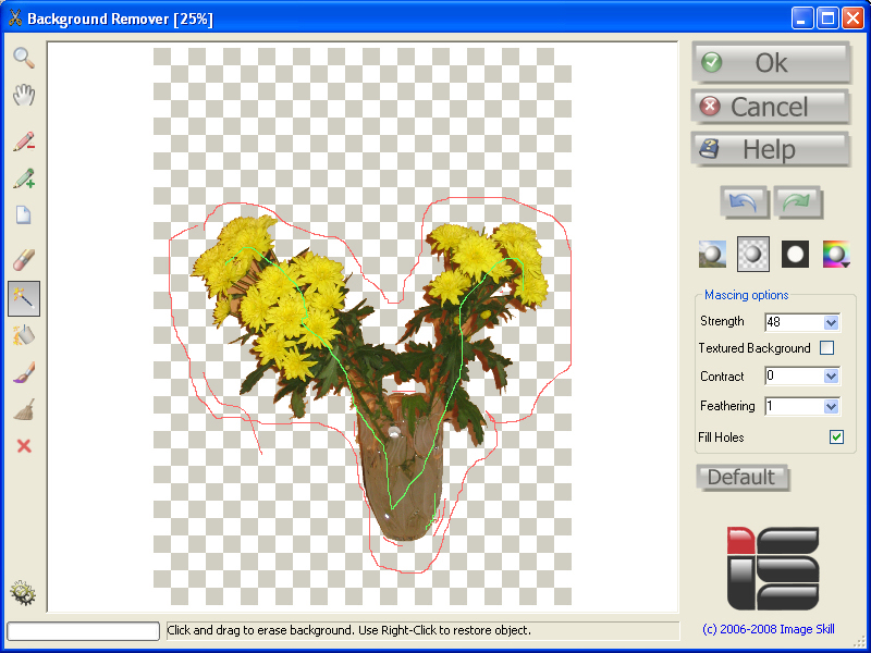 Fast and easily extracts objects from a complex background of a digital image.