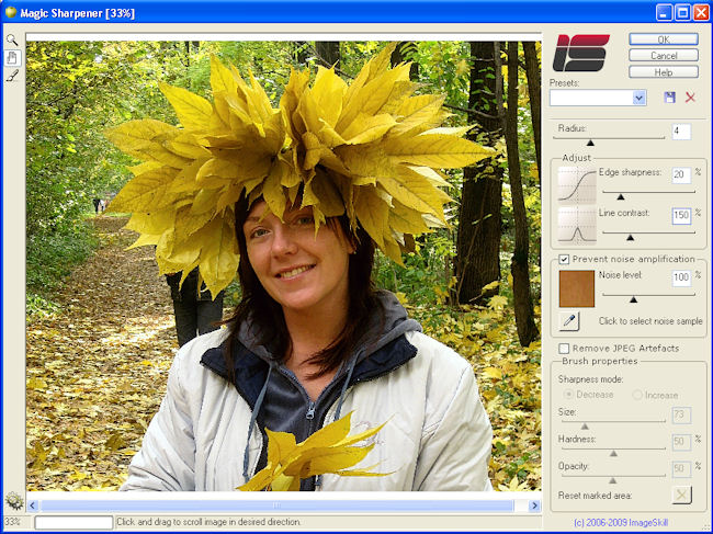 Image sharpening Photoshop-compatible plug-in without halos and increased noise. Screen Shot