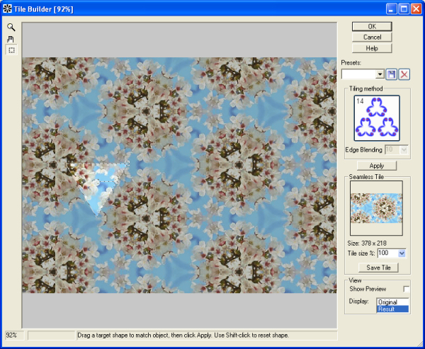 Tile Builder is a Photoshop-compatible plug-in for creation seamless patterns. It will be useful for web designers, artist and graphics enthusiasts. Run Tile Builder, choose tiling method and press Apply. You can save pattern for using anywhere.