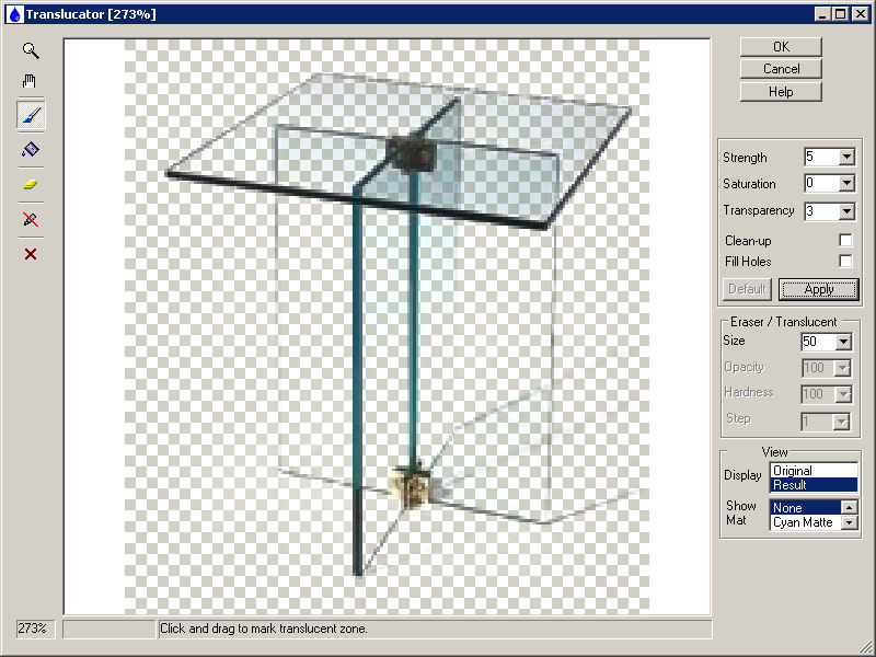 Plug-in extracts translucent objects (glass, smoke, fog, fur etc.) from image. Screen Shot